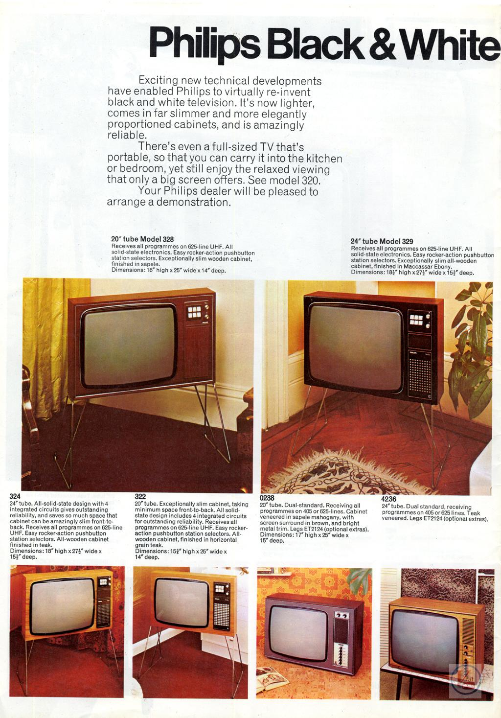 Late 60 S Early 1970 S Philips Monochrome Sets Radios Tv