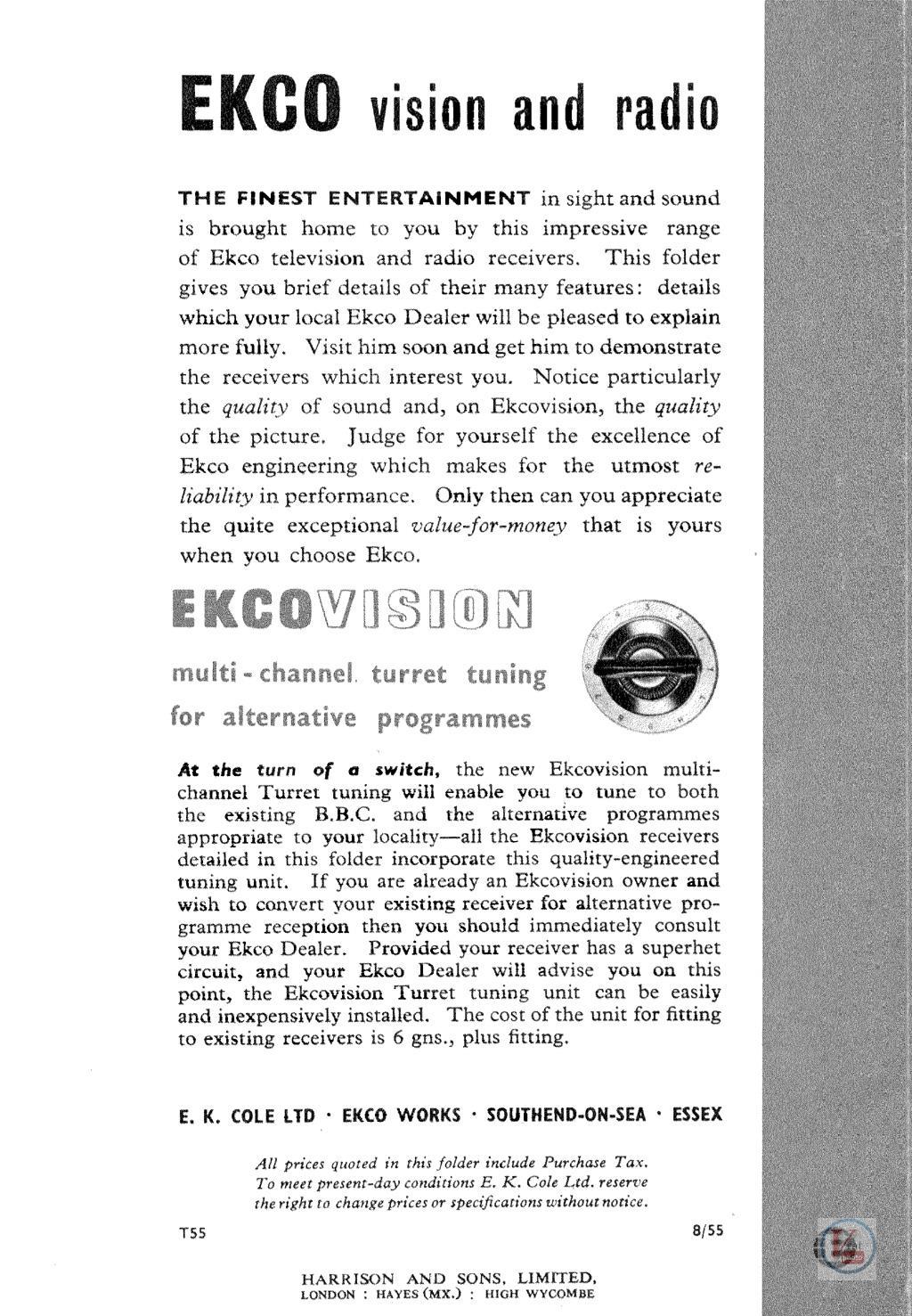 EKCO B&W TV's 50
