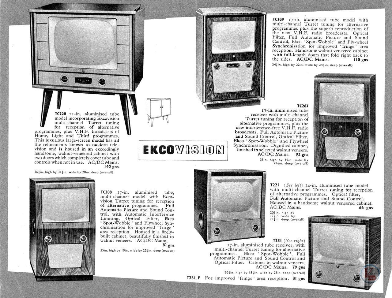 EKCO B&W TV's 53