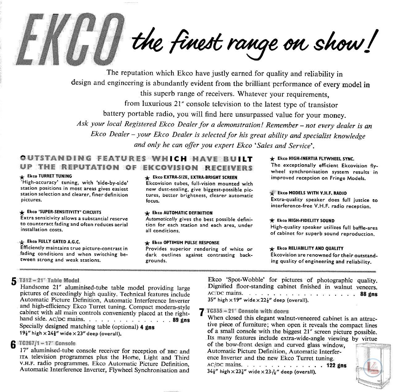 EKCO B&W TV's 60