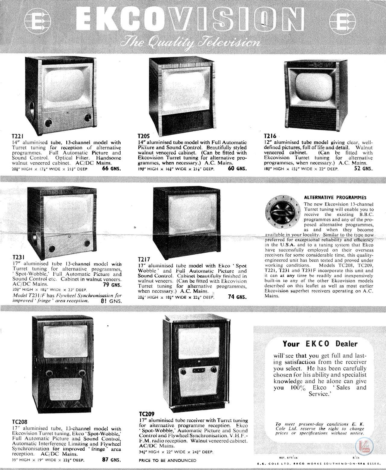 EKCO B&W TV's 54