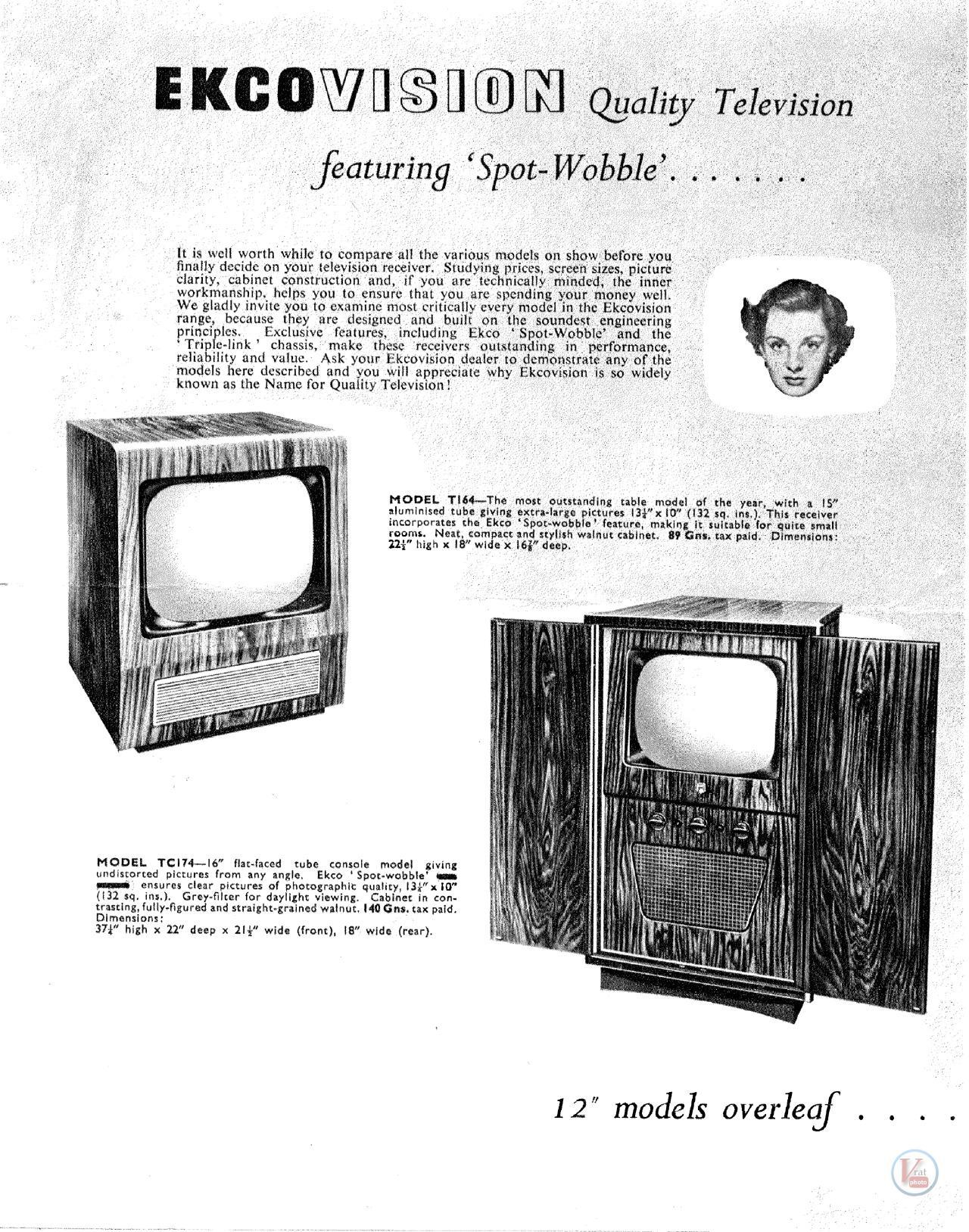 EKCO B&W TV's 51