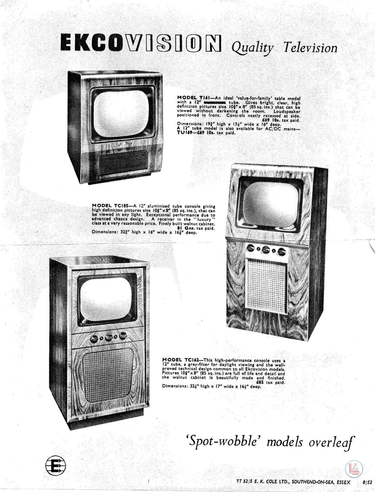 EKCO B&W TV's 52