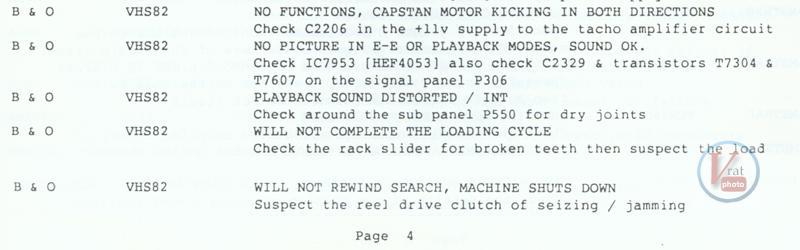 VCR Faults B&O 4