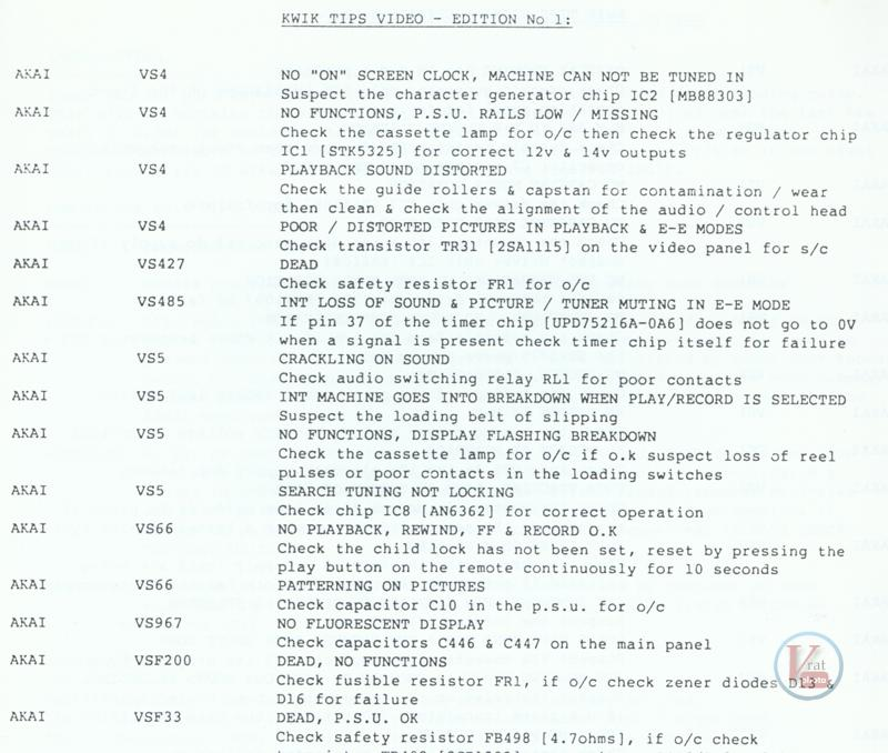 VCR Faults AKAI 8