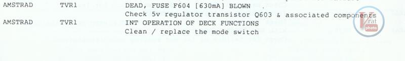 VCR Faults Amstrad 1