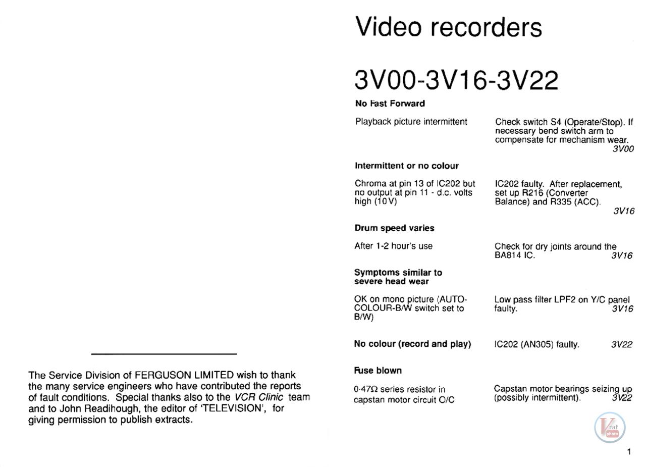Ferguson VCR: Stock Faults 50