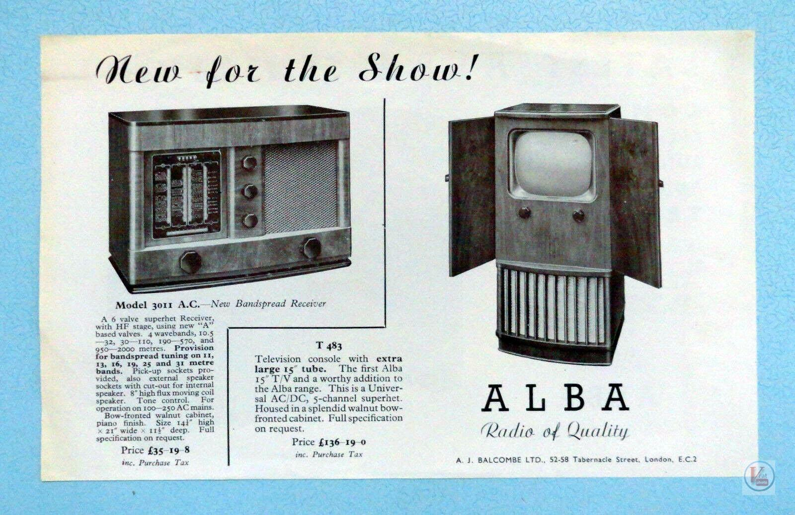 Alba Black & White TV's 3