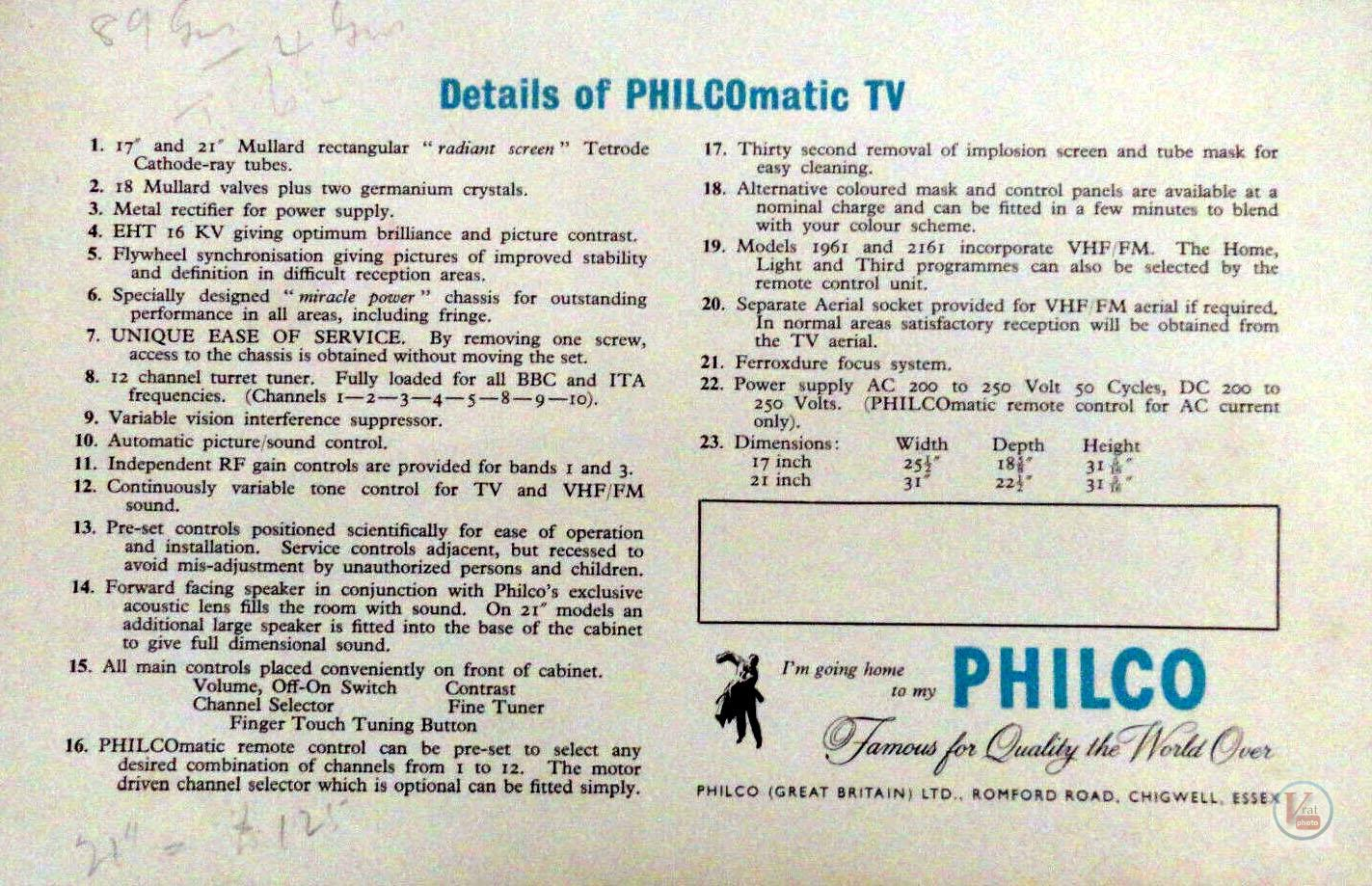 Philco Black & White TV's 15