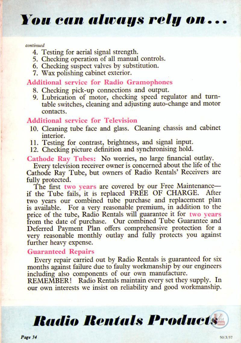 1957 Radio Rentals Catalogue 92