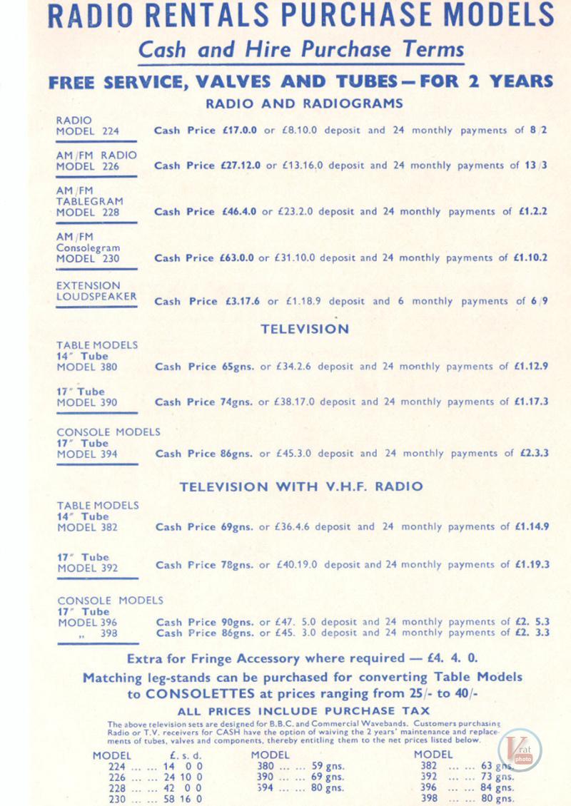 1957 Radio Rentals Catalogue 70