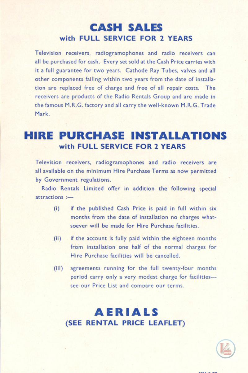 1957 Radio Rentals Catalogue 71