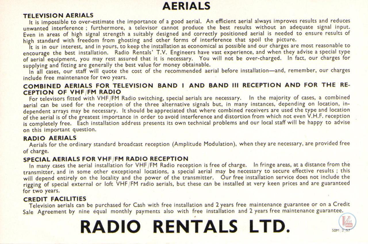 1957 Radio Rentals Catalogue 100