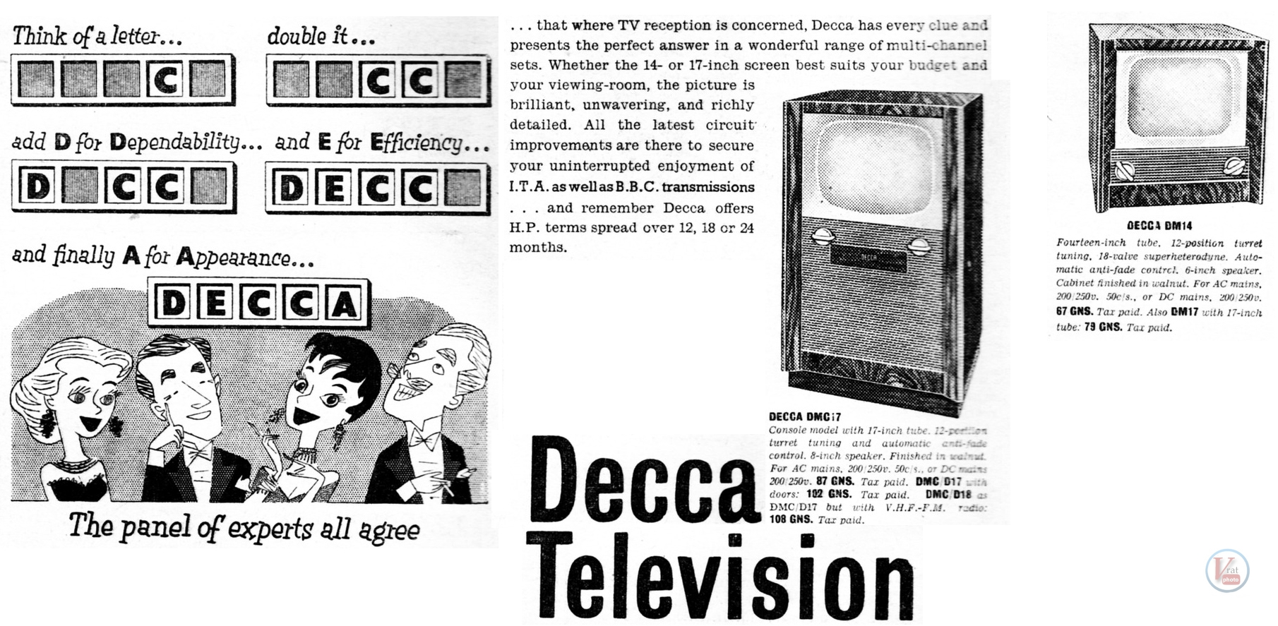 Decca B&W Televisions 12