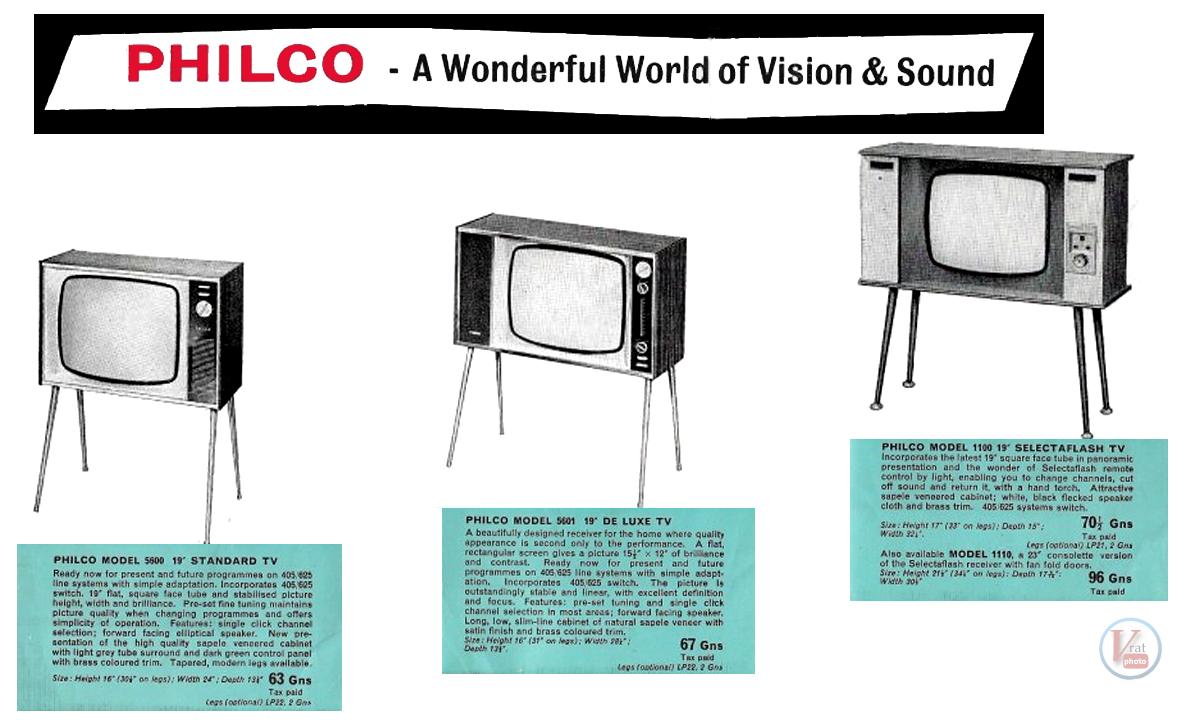 Philco Black & White TV's 16