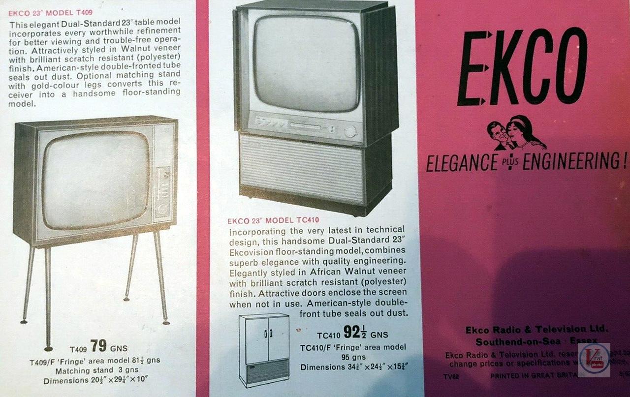 EKCO B&W TV's 62