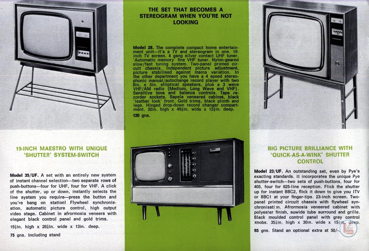 PYE B&W TV's 7